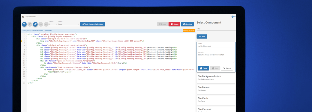 A screenshot of the Forrit Component Editor in action.
