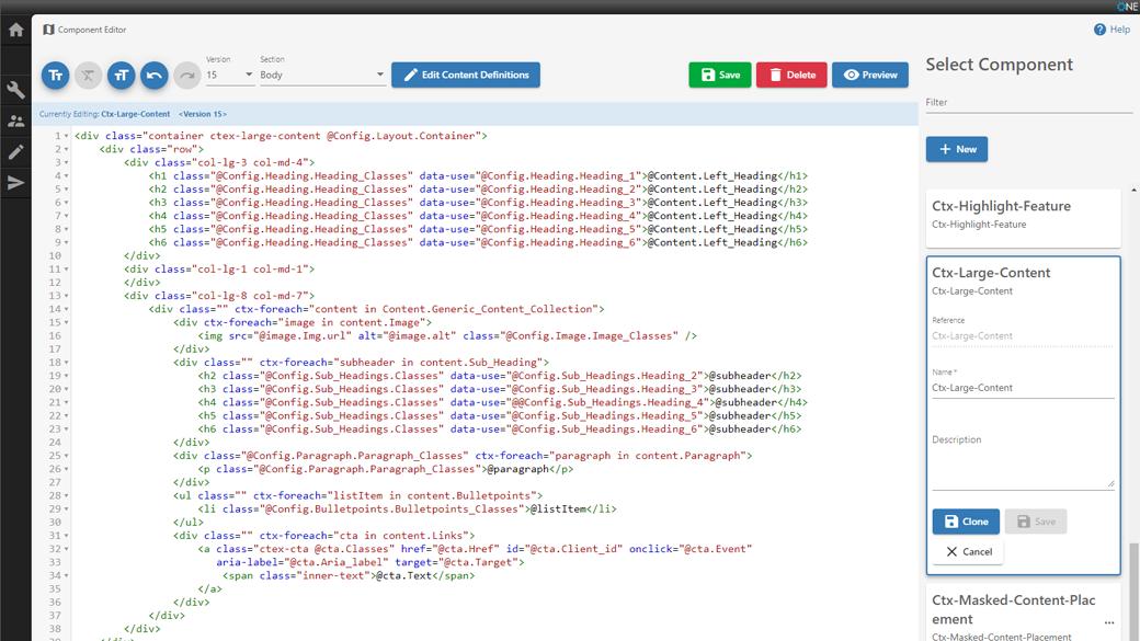 L'Editor dei componenti Forrit mostra la vista del codice per la creazione di un componente.